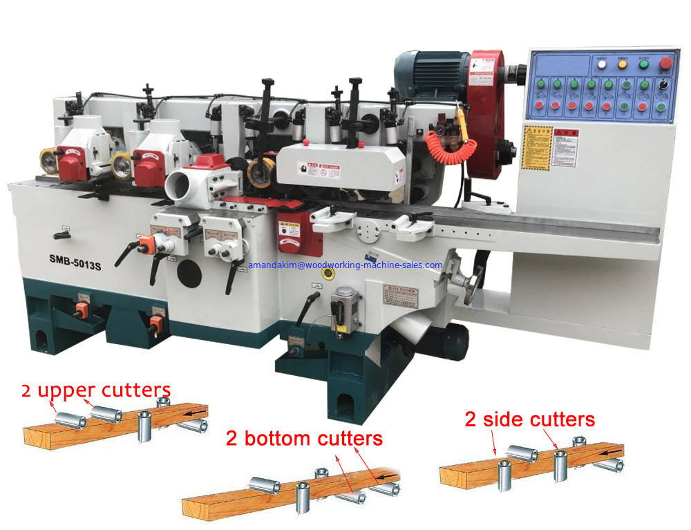 Simple and Economical Four Side Planer Machine SMB-4018 four Sides moulder for wooden floor