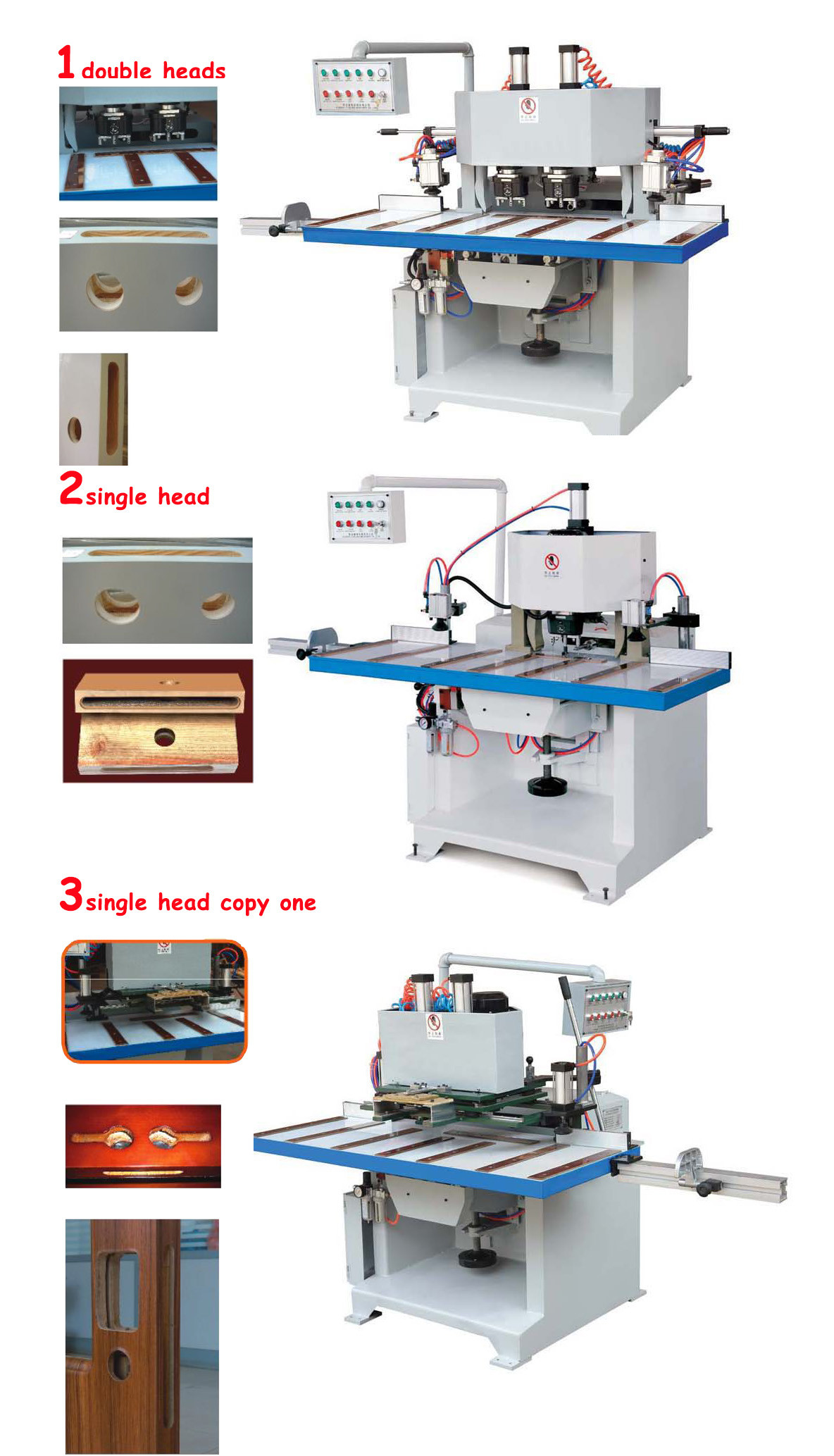 Door lock hole mortise mortising machine with double heads single heads copy heads